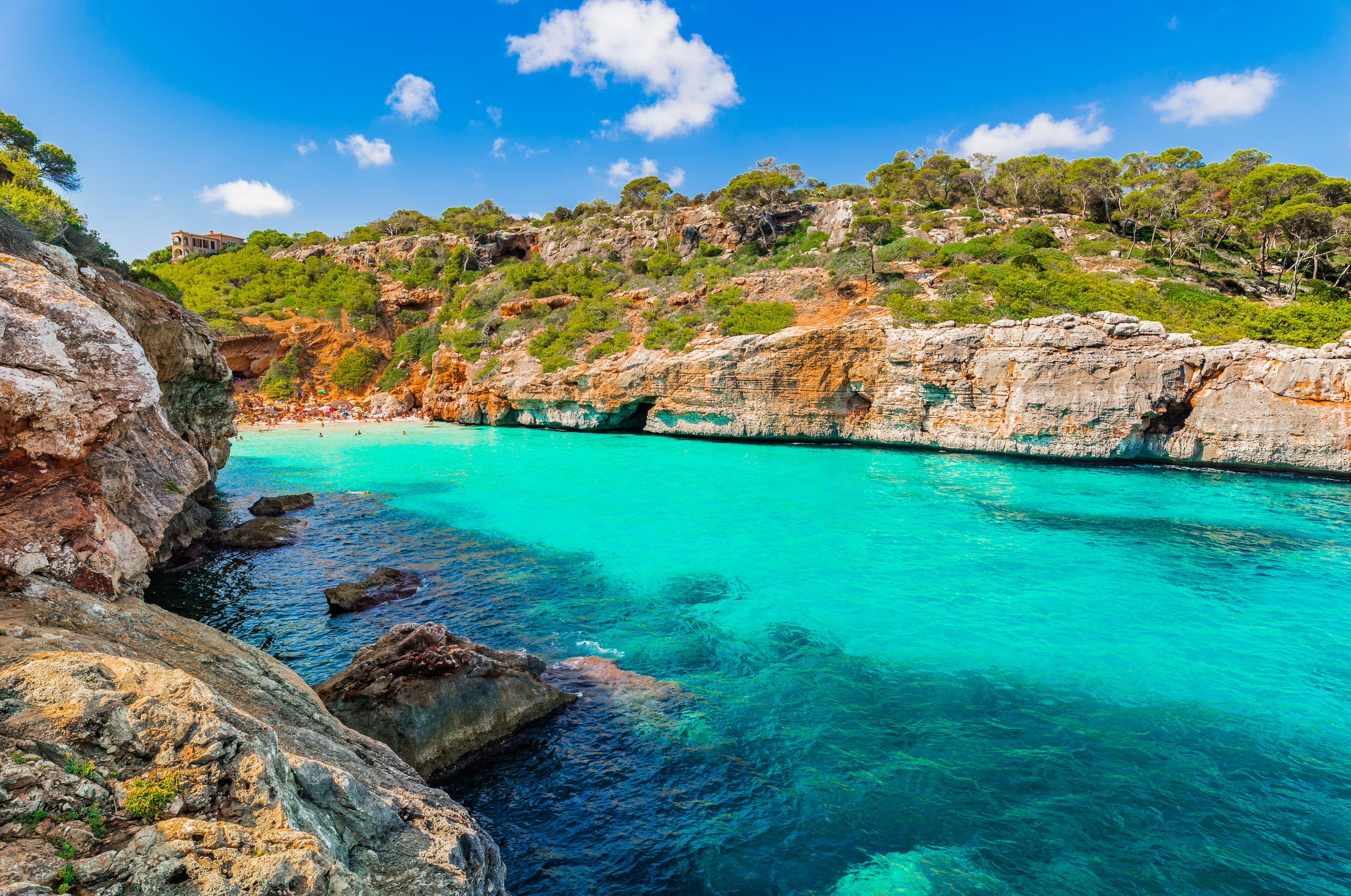 Beautiful cove beach Cala des Moro Majorca Mallorca Spain