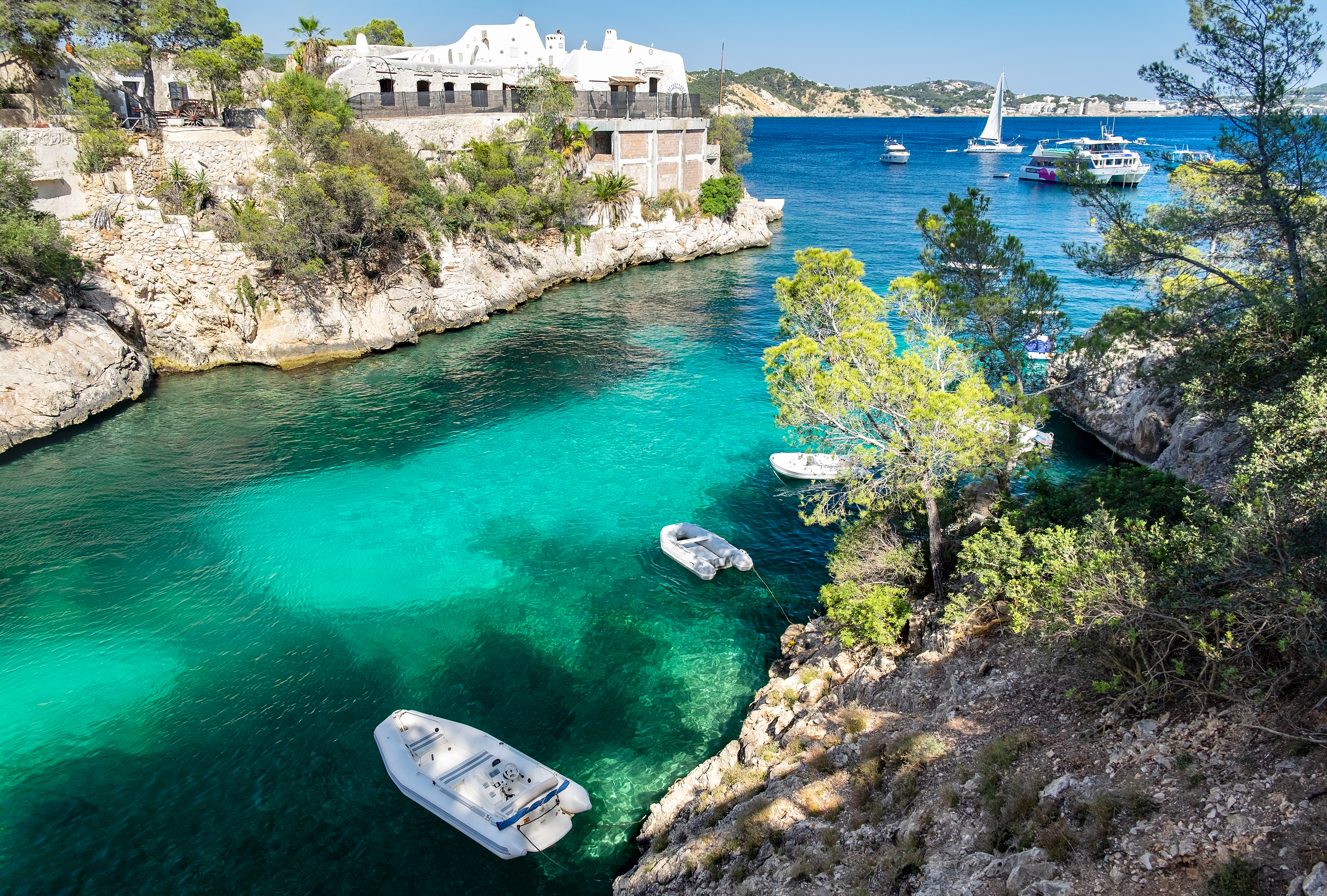 Cala Fornells View in Paguera, Majorca, Spain. Balearic, leisure