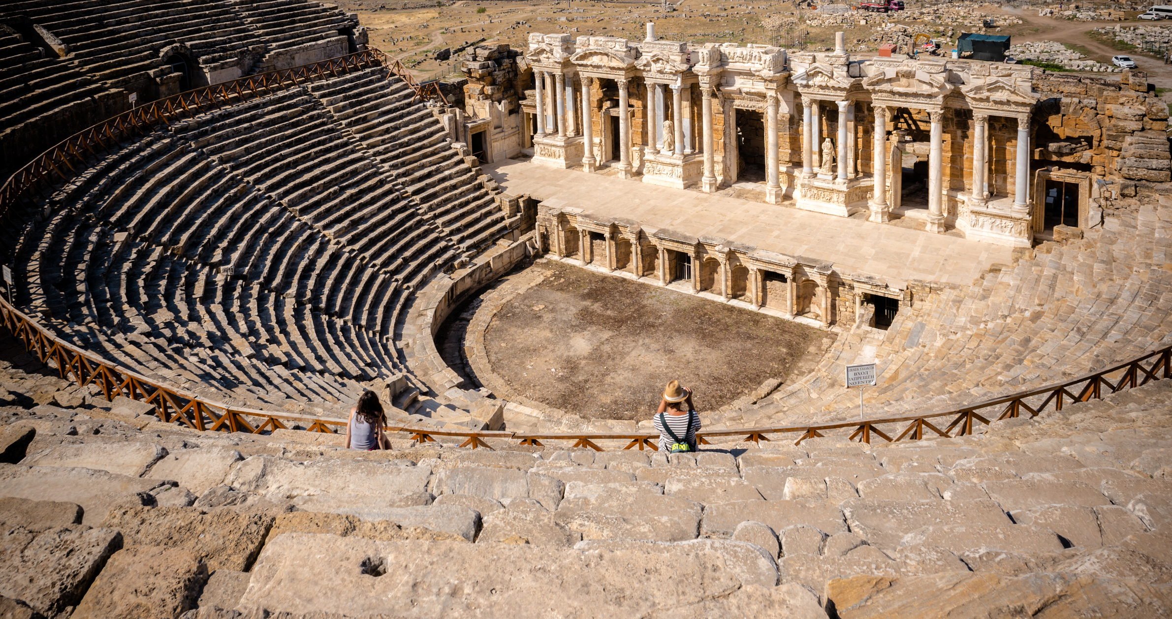 The ruins of Antique Theater in ancient Greek city Hierapolis, Pamukkale, Turkey