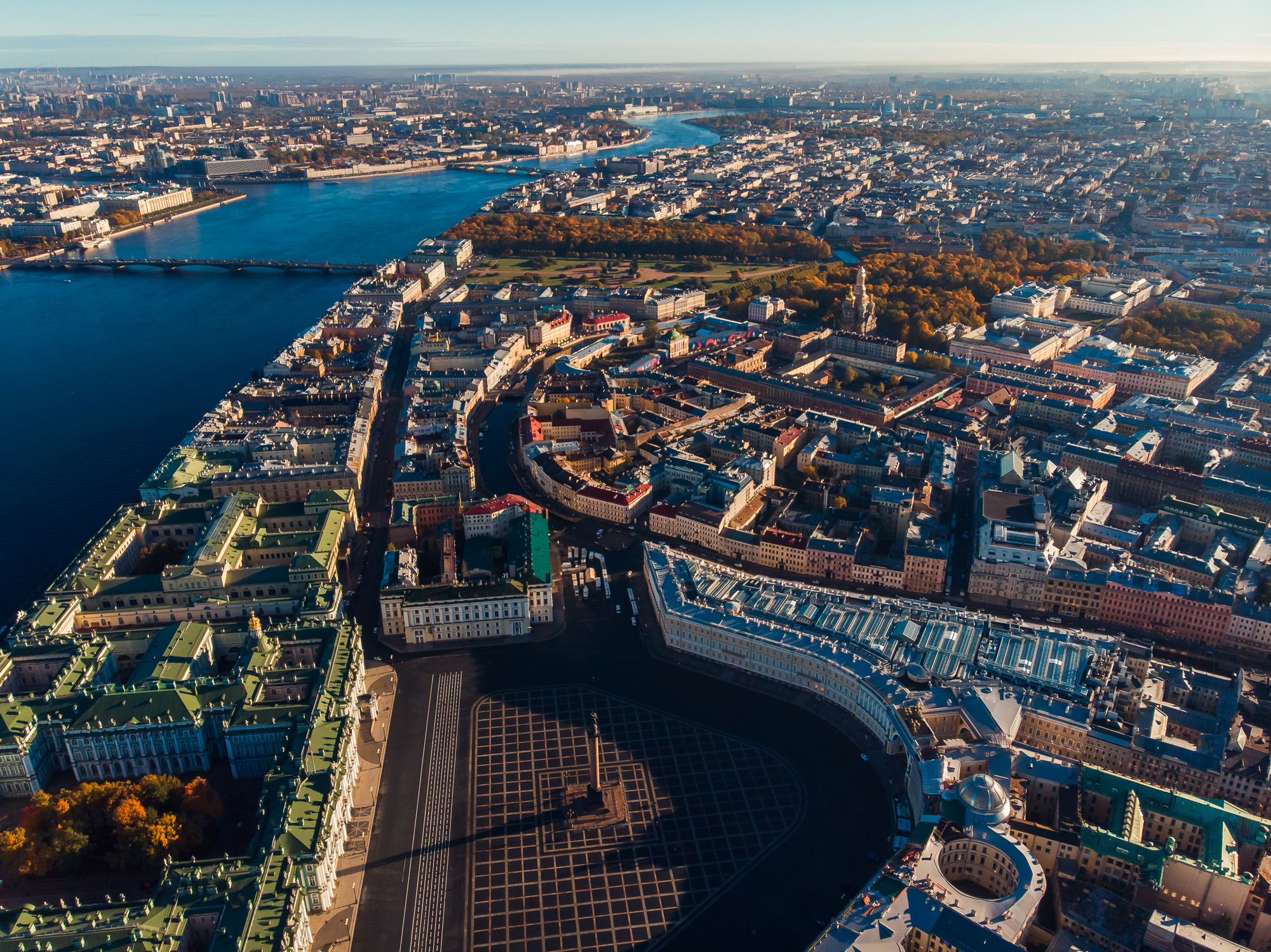 Autumn city St. Petersburg from bird-eye view, Palace square