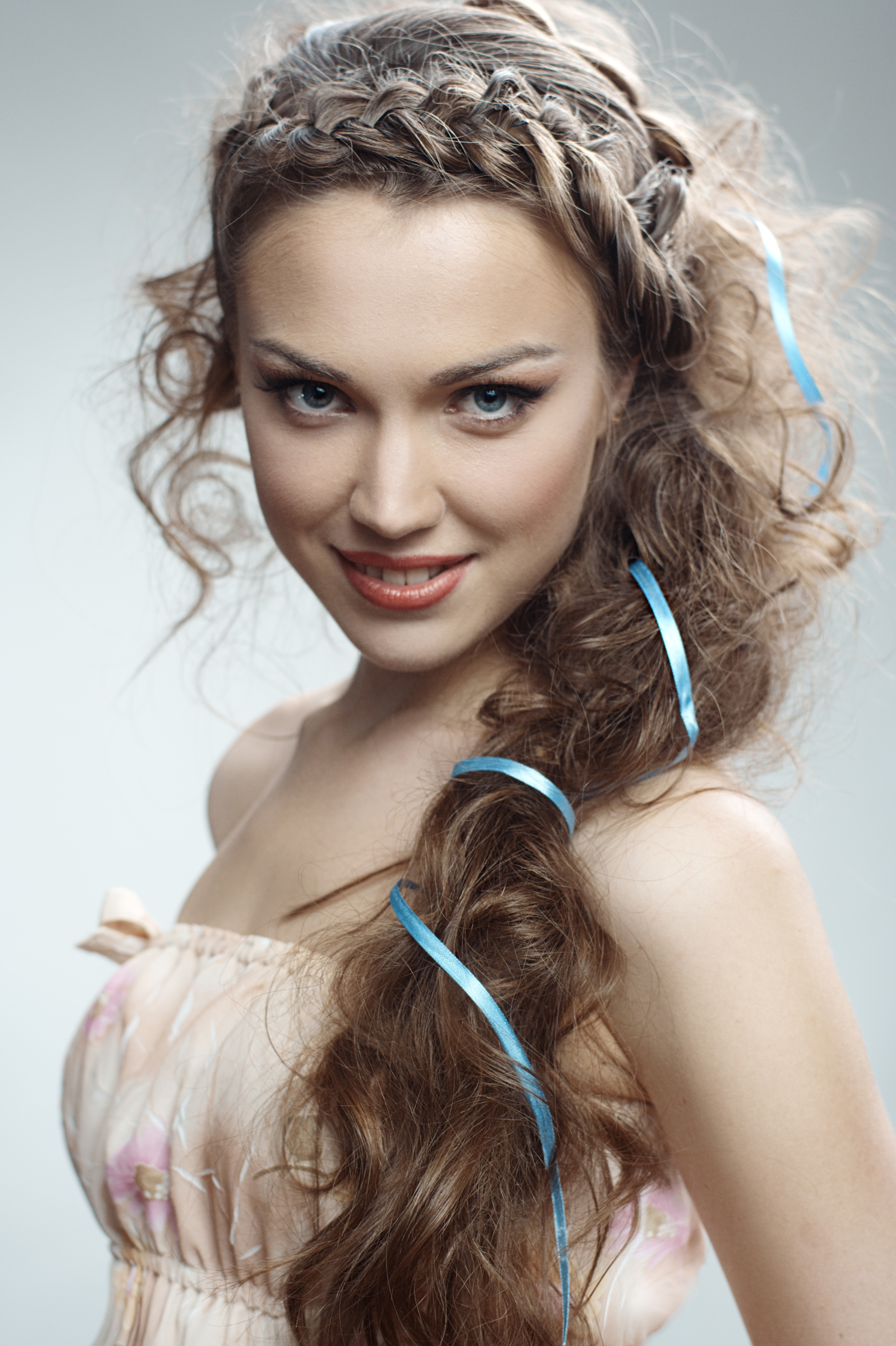 Pretty Russian woman with curly hairs
